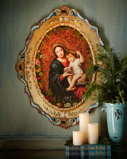 Madonna & Child Oil Painting in Oval Frame