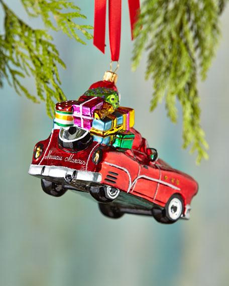 Sports Car Santa Christmas Ornament