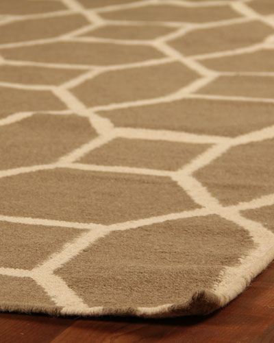Brown Hexagonal Maze Rug, 9'6