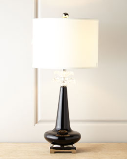 John-Richard Collection Ebony Blossoms Glass Lamp