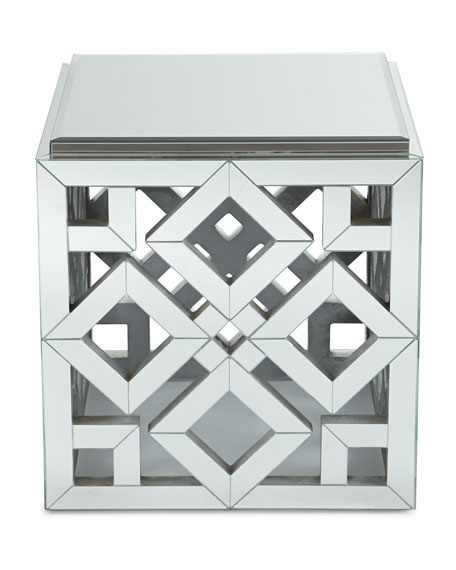 Diamond Mirrored Side Table