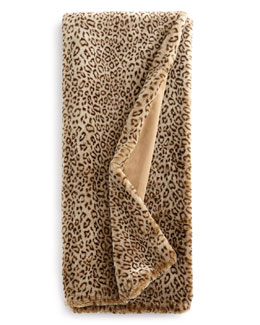 Queen Snow Leopard Faux-Fur Throw, 54