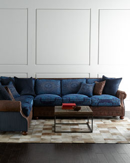 Old Hickory Tannery Blue Woodstock Sectional Sofa