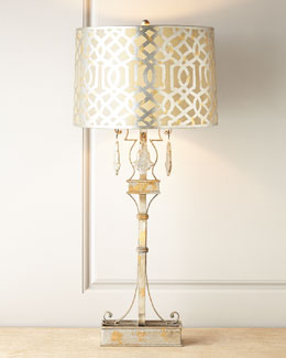 Jillian Antiqued-Silver Lamp