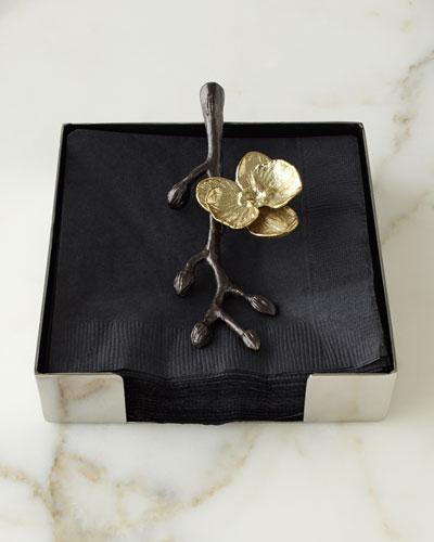Gold Orchid Cocktail Napkin Holder