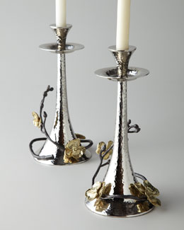 Two Gold Orchid Taper Candleholders