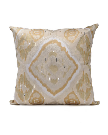 Kim Seybert 40Sq Golden Ikat Pillow Inspiration Kim Seybert Living Decorative Pillows