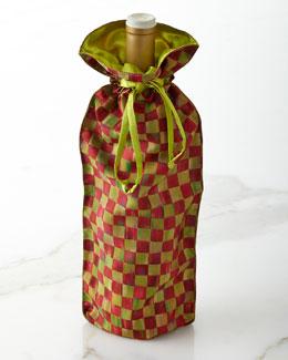 MacKenzie-Childs Orchard Check Wine Bag
