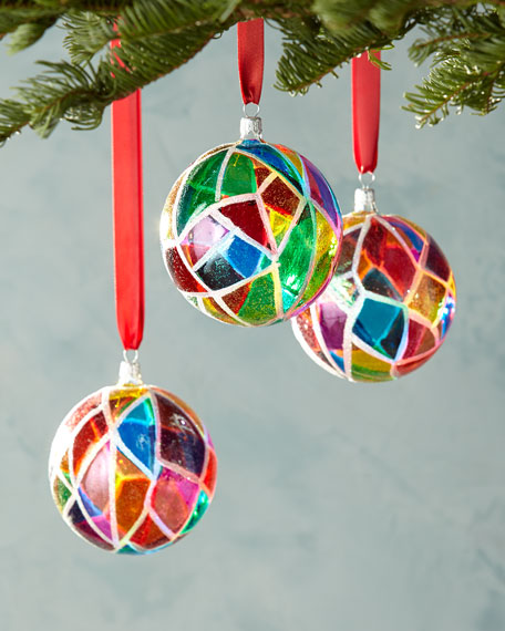 three mosaic glass ball christmas ornaments