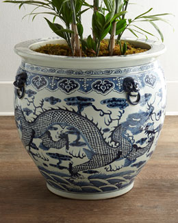 Antique Dragon-Motif Fish Pot