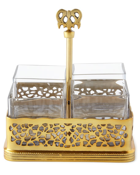 Gold-Tone Pierced Flatware Caddy