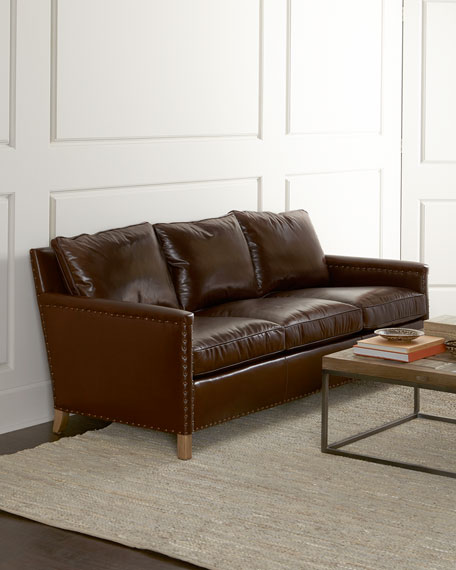 Lee Industries Castle Oaks Leather Sofa