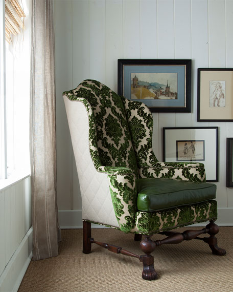 Maddie Damask Wing Chair