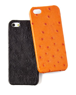 Ostrich-Embossed Leather iPhone 5 Case