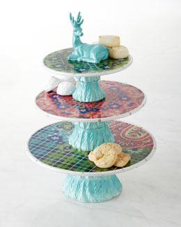 Folklore Holiday Three-Tier Dessert Stand