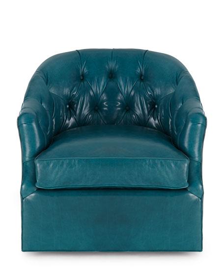 Rae St. Clair Peacock Blue Swivel Chair