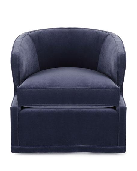 Dyna St. Clair Navy Velvet Swivel Chair