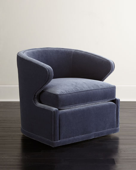 Delicieux Dyna St. Clair Navy Velvet Swivel Chair