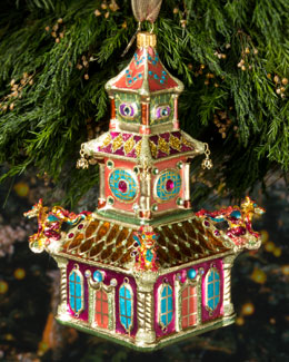Jay Strongwater Triple Pagoda Christmas Ornament