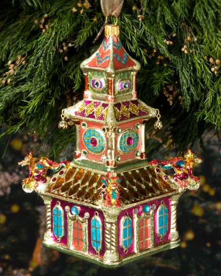 Triple Pagoda Christmas Ornament
