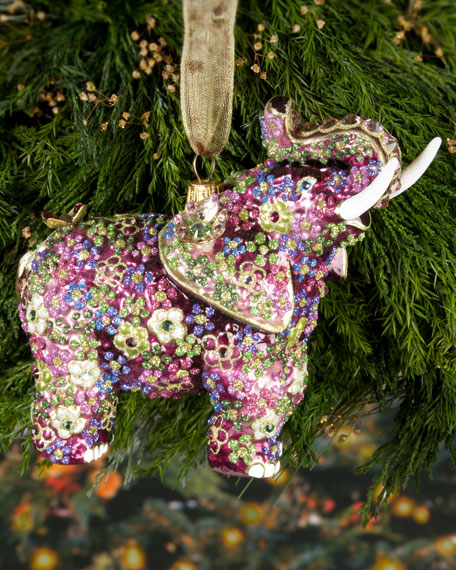 Mille Fiori Elephant Christmas Ornament