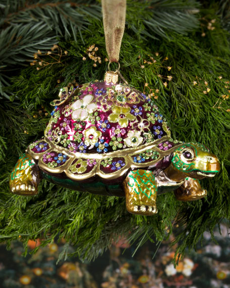 - Jay Strongwater Mille Fiori Turtle Christmas Ornament