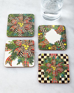 MacKenzie-Childs Four Evergreen Coasters