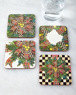 MacKenzie-Childs Four Evergreen Coasters