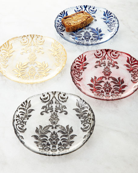 Four damask canape plates for What are canape plates
