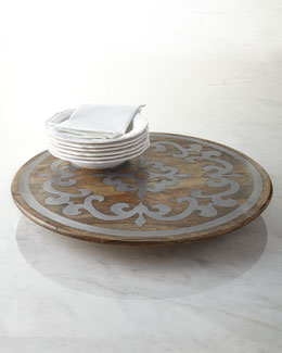 GG Collection Wood Lazy Susan with Metal Inlay