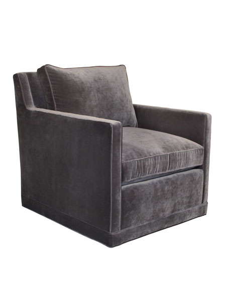 Nina St. Clair Gray Velvet Swivel Chair