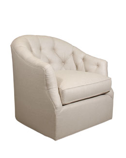 Rae St. Clair Linen-Texture Swivel Chair