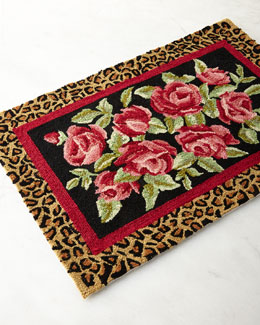 Hooked Wool Roses Accent Rug