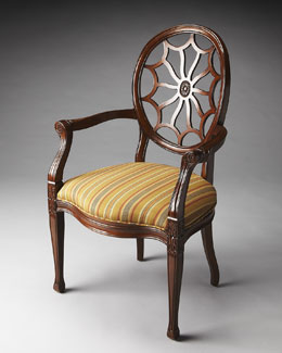 Red Stripe Carved Accent Chair
