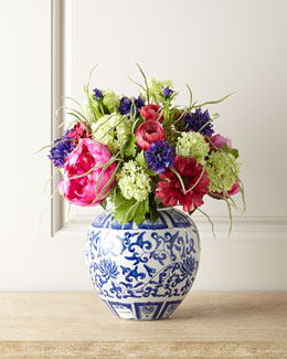 Peony & Zinnia Faux Floral Arrangement