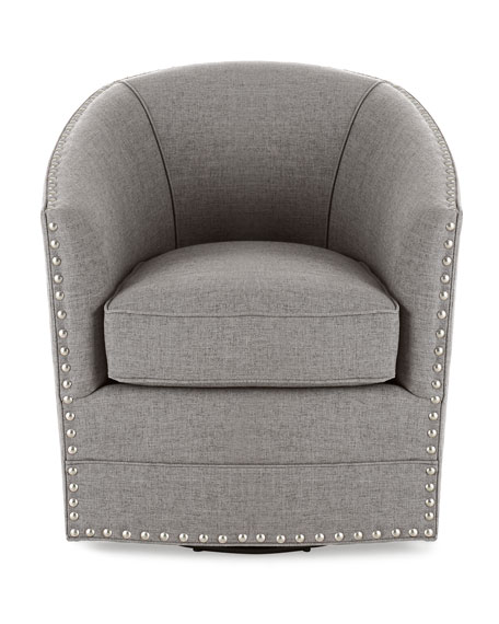 Bryn St. Clair Light Gray Tweed Swivel Chair