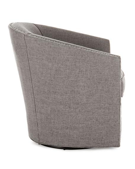 Bryn St. Clair Light Gray Tweed Swivel Chair