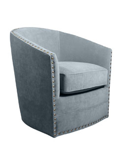 Bryn St. Clair Sky Blue Velvet Swivel Chair