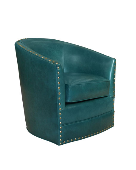 Gentil Bryn St. Clair Peacock Blue Leather Swivel Chair
