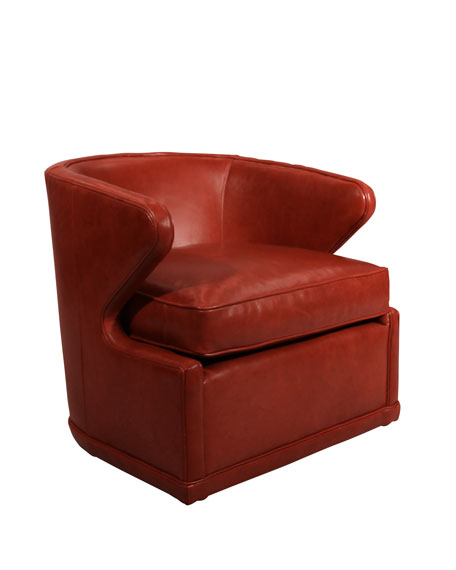 Dyna St. Clair Red Leather Swivel Chair