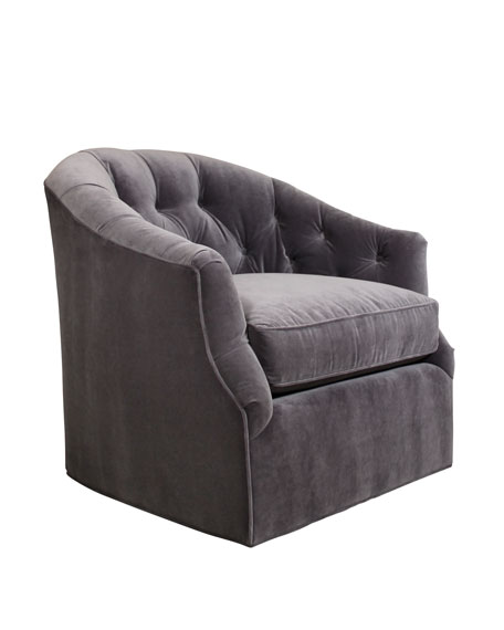 Merveilleux Rae St. Clair Gray Velvet Swivel Chair