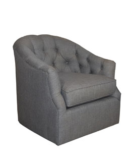 Rae St. Clair Charcoal Tweed Swivel Chair