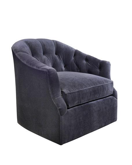 Rae St. Clair Navy Velvet Swivel Chair