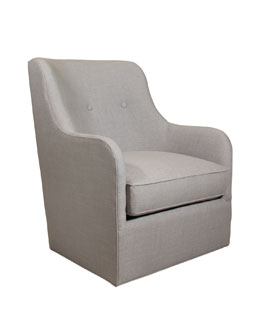 Cali St. Clair Light Gray Tweed Swivel Chair