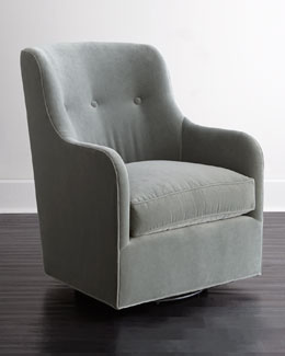 Cali St. Clair Aqua Velvet Swivel Chair