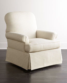 Lynn St. Clair Gray Velvet Swivel Chair