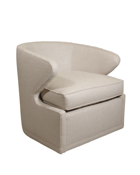 Dyna St. Clair Linen-Textured Swivel Chair