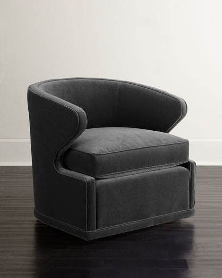 Dyna St. Clair Gray Velvet Swivel Chair