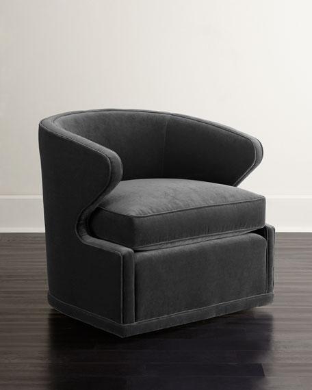 Dyna St. Clair Gray Velvet Swivel Chair