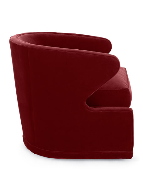 Dyna St. Clair Red Velvet Swivel Chair